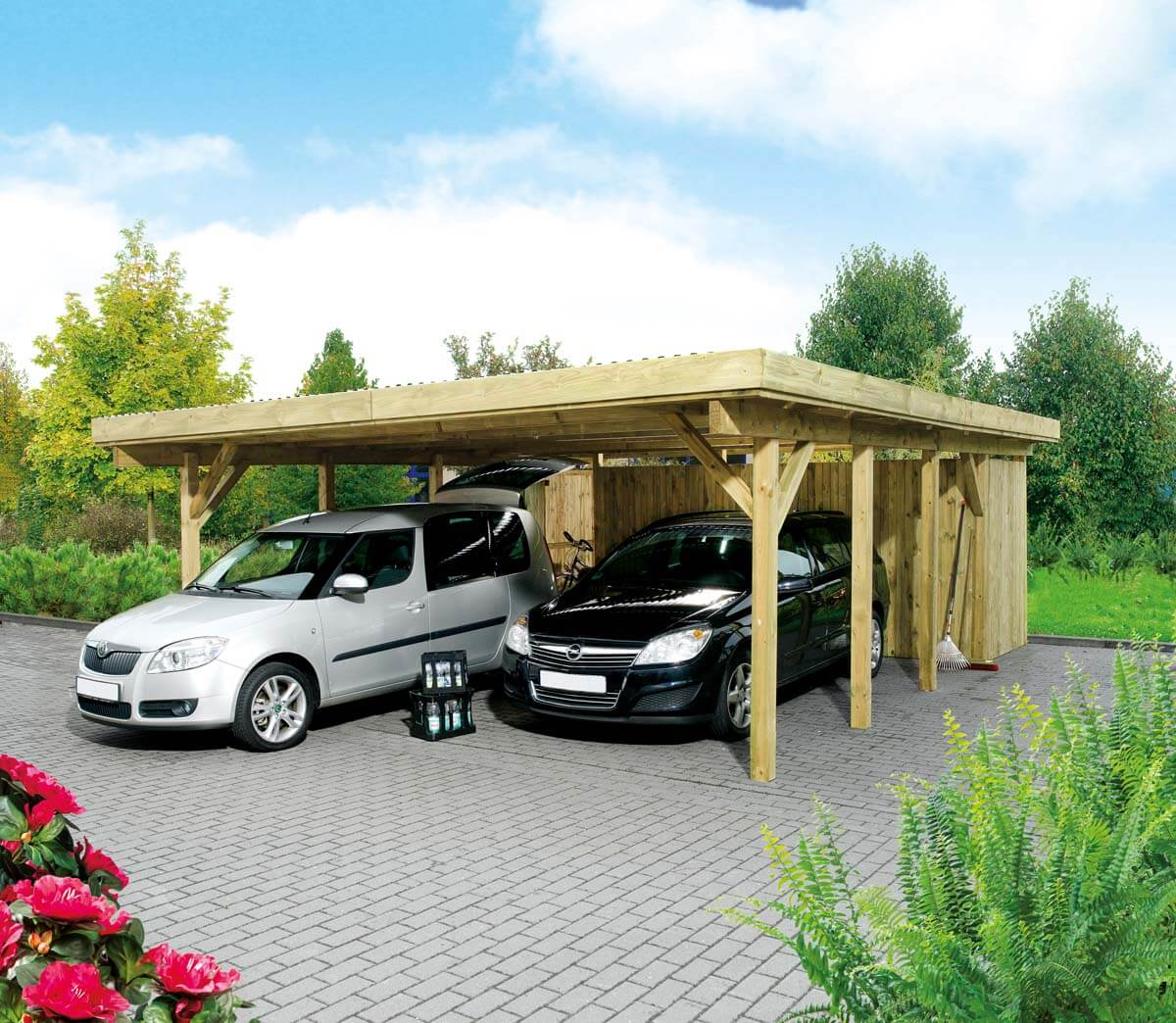 doppelcarport hamburg 2 mit flachdach ca b 604xt 760 cm o ger teraum mr gardener. Black Bedroom Furniture Sets. Home Design Ideas
