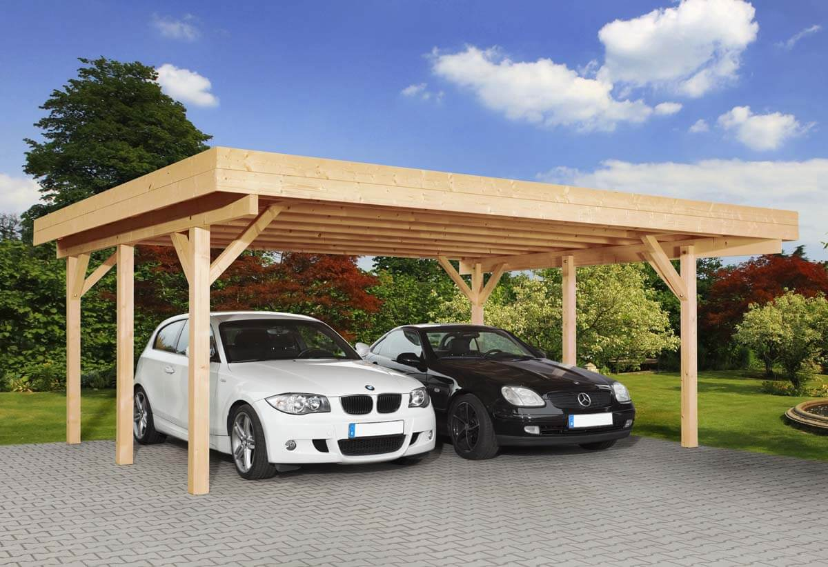 doppelcarport heidelberg 2 mit flachdach ca b 604xt 760 cm o ger teraum mr gardener. Black Bedroom Furniture Sets. Home Design Ideas